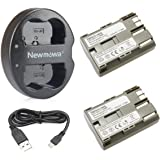 Newmowa BP-511 BP-511A 互換バッテリー 2個+USB充電器 ( 大容量 2400mAh USB 急速充電 ) 対応機種 Canon BP-511 BP-511A Canon EOS 5D 10D 20D 30D 40D 50D Rebel 1D D60 300D D30 Kiss Powershot G5 Pro 1 G2 G3 G6 G1 Pro90