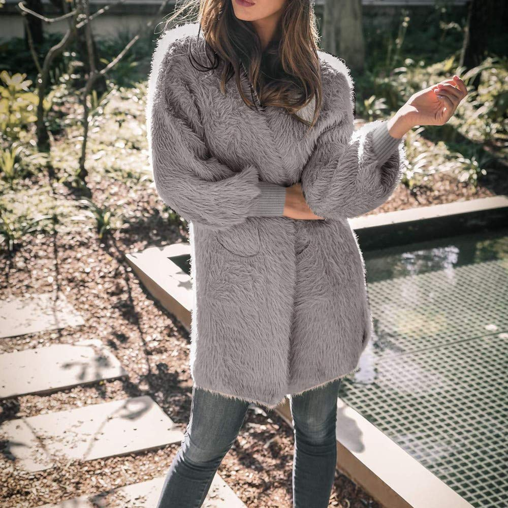 KYLEON Womens Soft Fur Basic Open Front Knit Cardigan Sweater with Pocket Winter Long Sleeve Long Blouses Coat