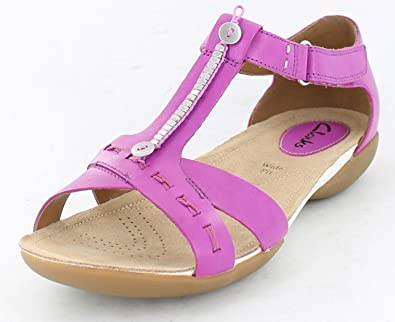 c4330bdc96b1 Ladies Clarks Wide Fitting T-Bar Sandals Raffi Magic Pink Leather Size 4.5E