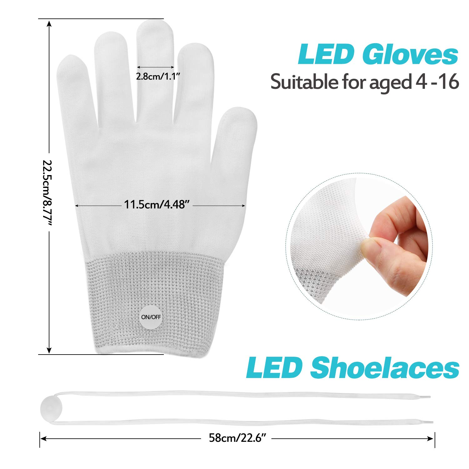 Aywewii LED Gloves, Light Up Gloves for Kids, Flashing LED Gloves with LED Shoelaces Set, Children LED Gloves Glow Flashing Novelty Kids Toys for Christmas Party Best Costume Gift (White)
