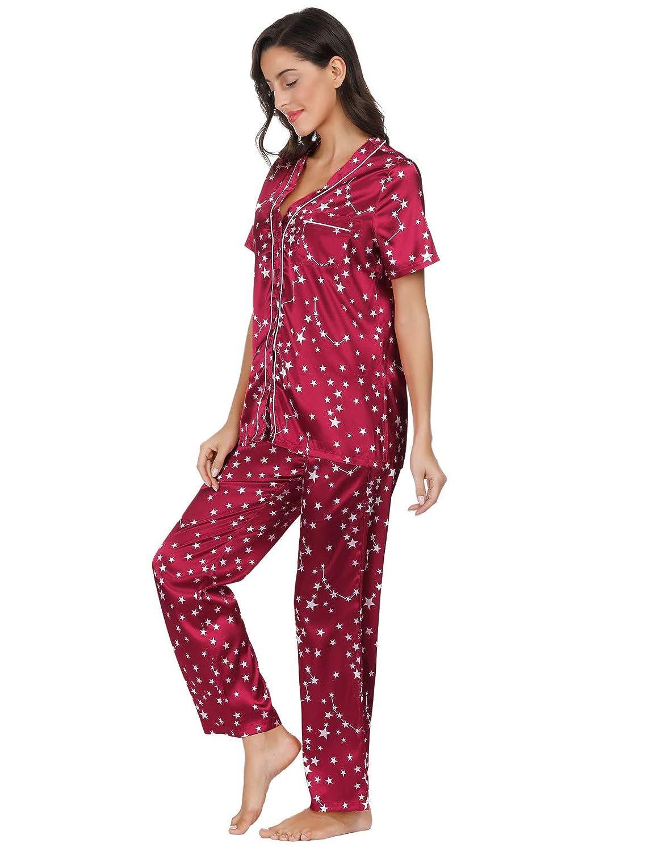 53f415d07 Women's Stars Print Satin Sleepwear Pjs Set Short Tops with Long Pants  Pajama Set at Amazon Women's Clothing store: