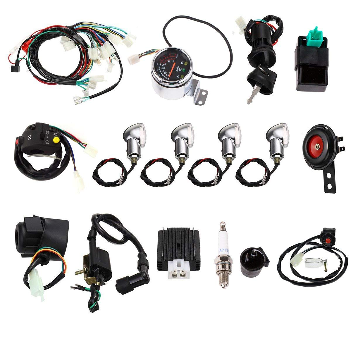 Facaing Full Electric Start Engine Wiring Harness Loom 110cc 125cc Quad Bike ATV Buggy by Facaing