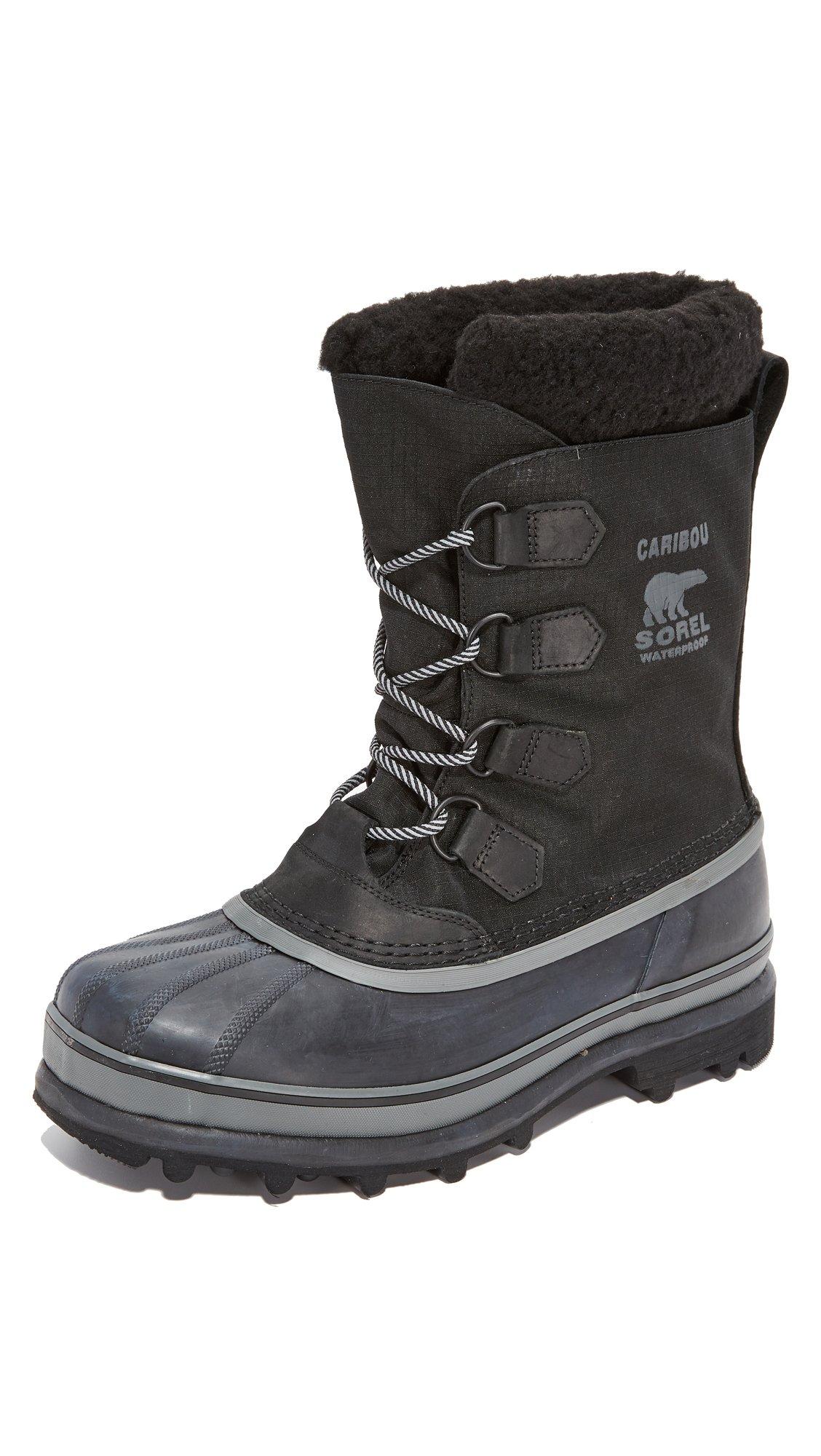 Sorel Men's Caribou Reflective WL Boots, Black, 10.5 D(M) US