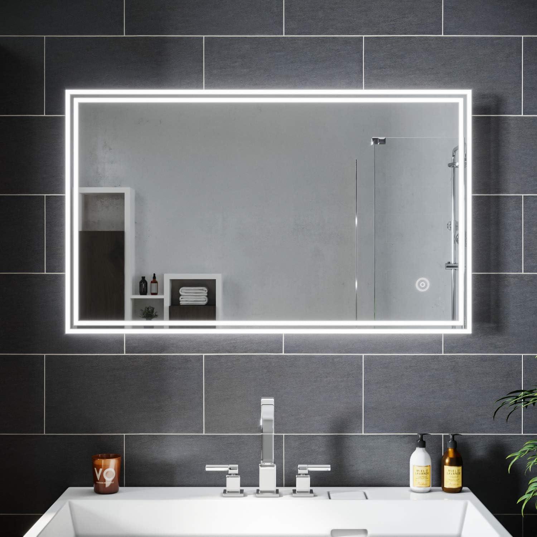 SIRHONA Miroir Lumineux LED 16x16cm Anti-buée Miroir Salle Bain Mural  Cosmétiques Mural Lumière Illumination