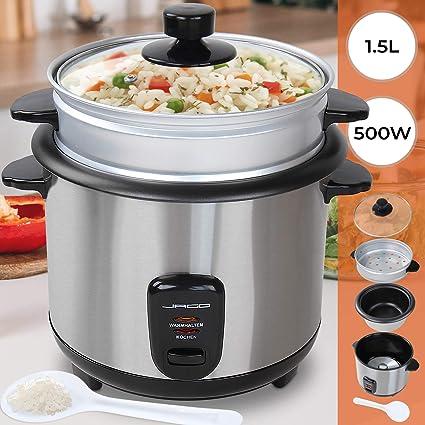 Jago - Arrocera para cocinar con capacidad aprox. de 1,5 litros y con la olla para cocinar al vapor: Amazon.es: Hogar