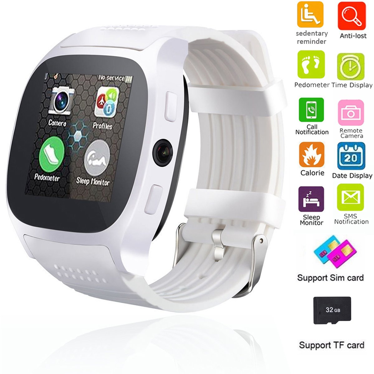 Smart Watch Bluetooth Unlocked Wristwatch Cell Phone With Camera SIM TF Card Slot Sport Fitness Tracker Sweatproof for Men Women Boys Girls for Android Smartphones Samsung Motorola LG HTC (White) by Teastar