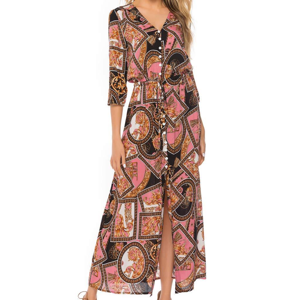 Nmch Women's Summer Fashion Beach Bohemian Maxi Dresses Plus Size Half Sleeve V-Neck Print Button Long Dress(Pink,XXL)