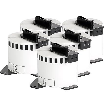 5x compatible Etiquetas continuas DK22205 blanco para Brother impresora de etiqueta QL1050 / QL1060 / QL500, QL550, QL560, QL570, QL580, QL650, QL700, ...