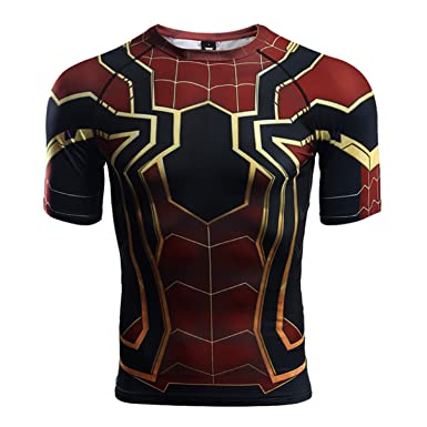 05978a98fc1247 Infinity War - Part 3 Short Sleeve Spider-Man Compression Shirts (XXXX-Large