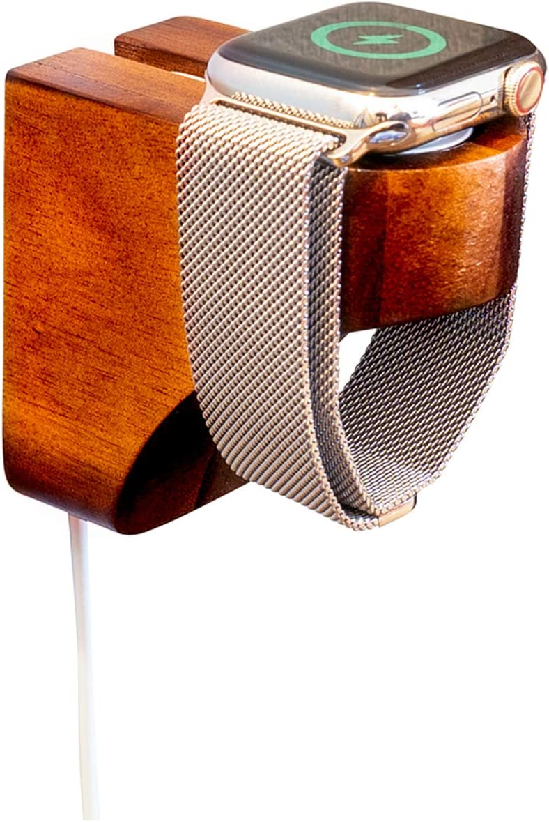 Wall Charging Station for Apple Watch - Wooden Charging Dock - Wood Charging Station for iWatch (Walnut)