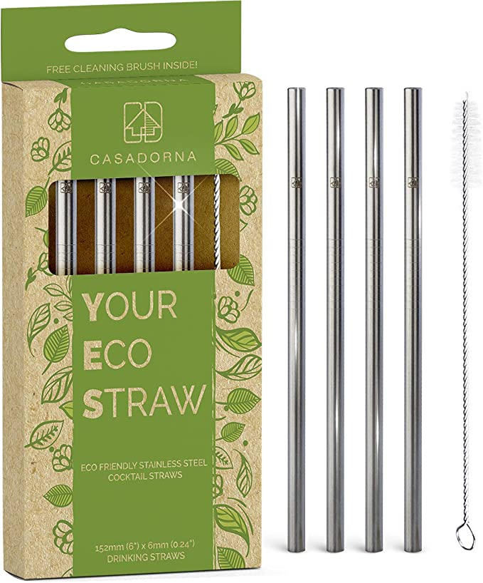 Stainless Steel Drinking Straw Reusable Sucker Spoon Filter Bar Drinks Kit #w