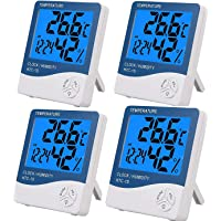 eSynic 4PCS Termómetro Higrómetro Digital con Gran LCD Medidor de Temperatura y Humedad con Luz de Fondo Termómetro…