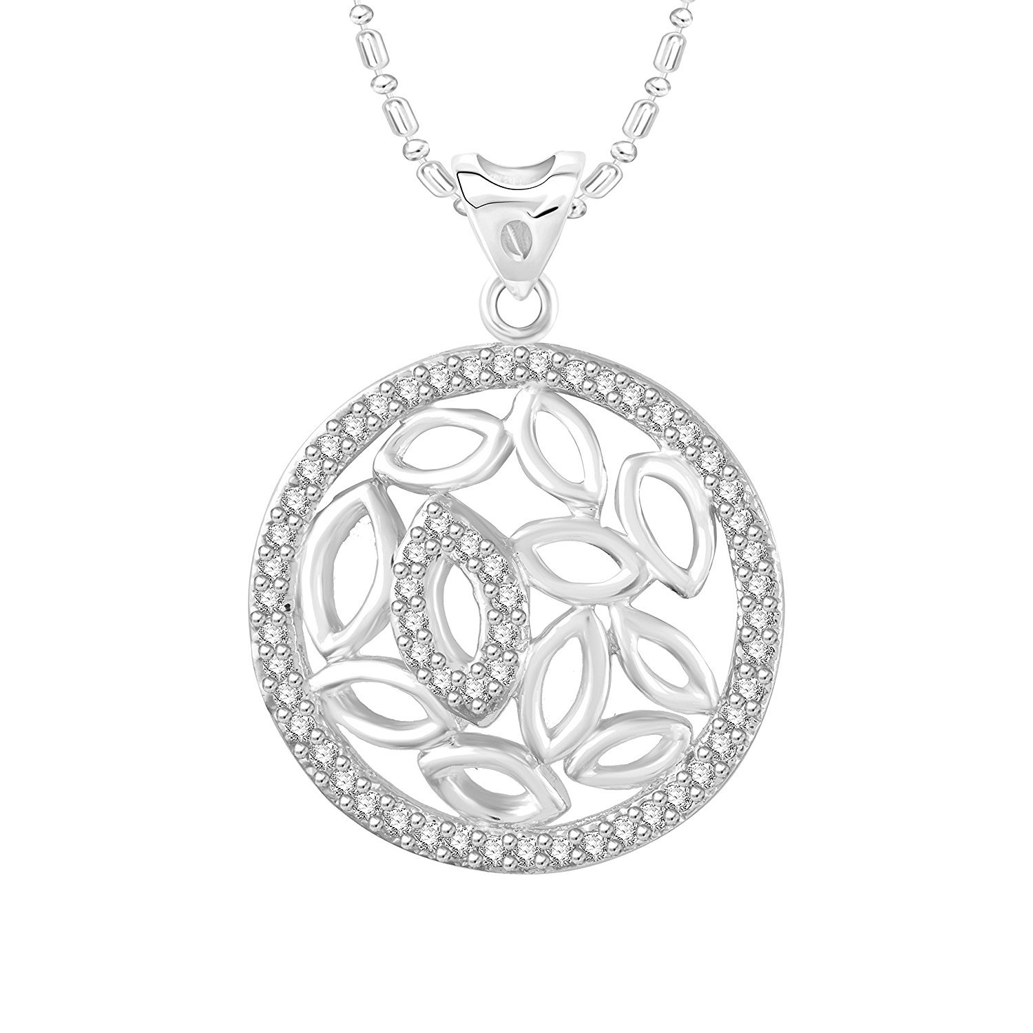Ashley Jewels Simulated Diamond Studded Fashion Pendant Necklace in 14K White Gold Plated With Box Chain