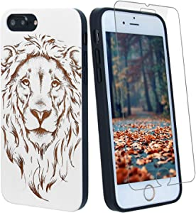 White Lion Wood Phone Case Compatible with iPhone Xs Max Including Strong 9H Glass Screen Protector, Wireless Charging Compatible, Shockproof Protective Cover, Wireless Charging Compatible