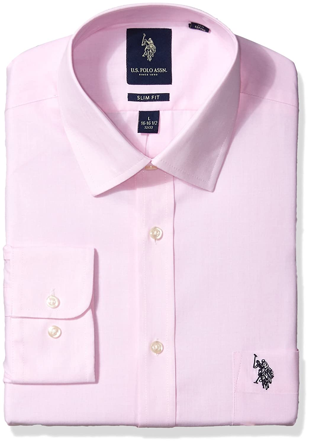 c4a003ca83947 U.S. Polo Assn. Men s Slim Fit Solid Semi Spread Collar Dress Shirt ...