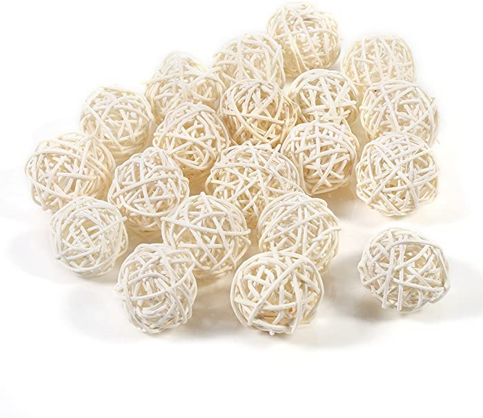 Ladieshow Ball Decorative Ball Orbs Vase Fillers Decorative Rattan Balls Ornaments Wedding Christmas Birthday Party Decorations(5 Colors 20Pcs)(White)