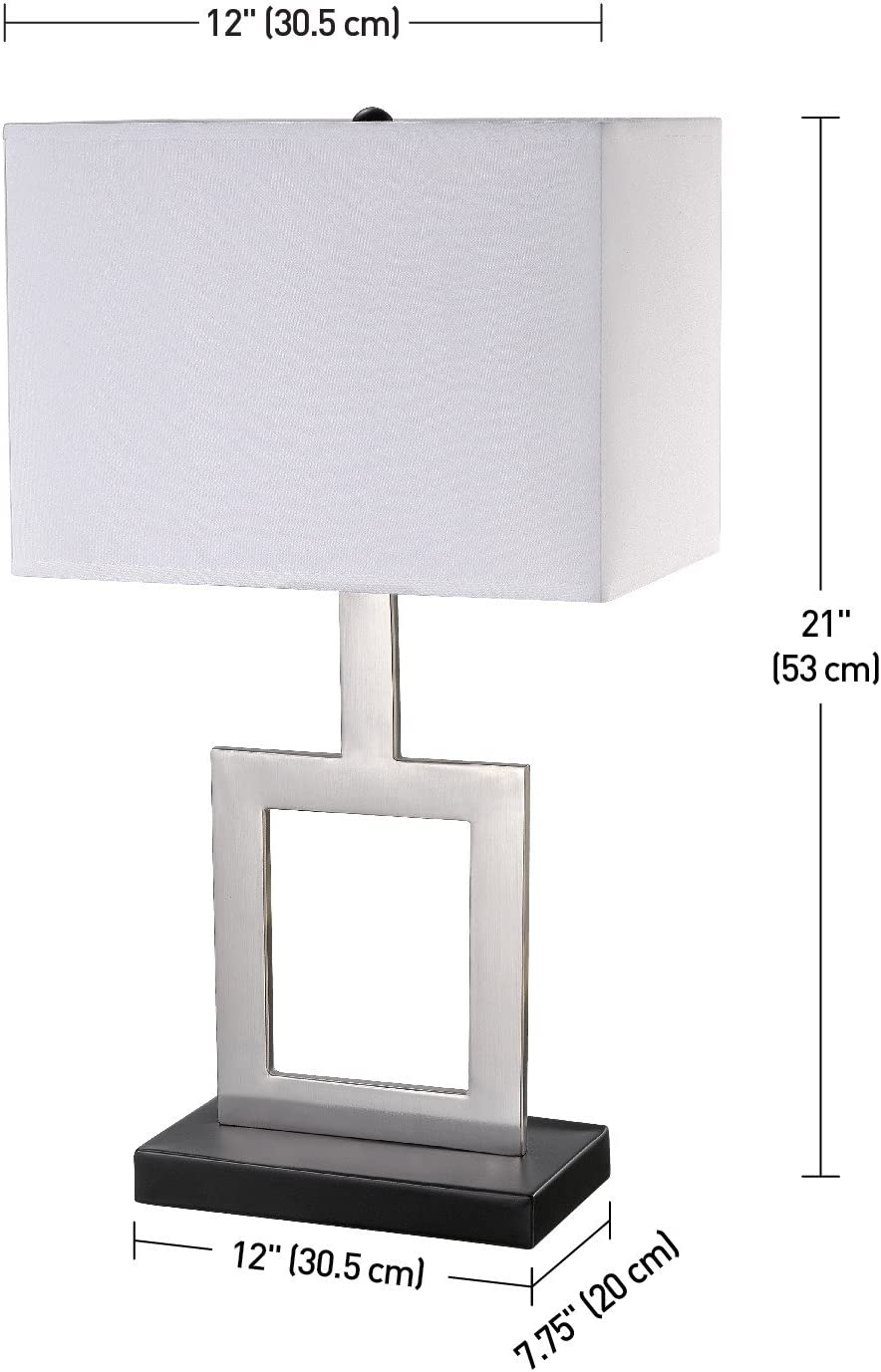 Haven 21 Table Lamp Brushed Nickel Finish Black Base White Shade In Line On Off Rocker Switch 11388 Amazon Com