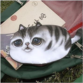 dfly 1pc portátil Lovely moda dibujos animados gatos cartera cremallera monedero bolso de mano 3d Meow Star Plush Moneda bolsas: Amazon.es: Belleza