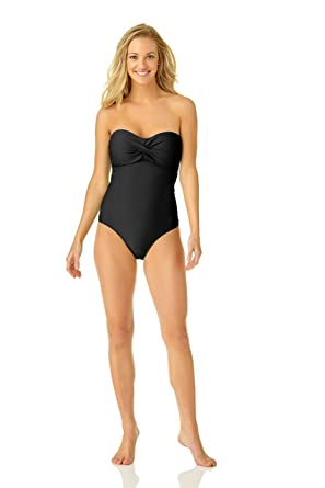 2fc2d12f9d7ad Catalina Women's Twist Front Bandeau One Piece Swimsuit, Black, Small