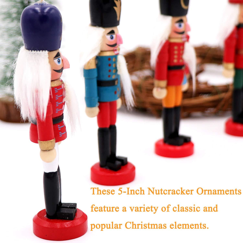 Amazon.com: Jolik 6 PCS Nutcracker Ornament Set Wooden Nutcracker ...