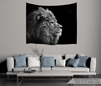 d2239e7e5550a PROCIDA Home Wall Hanging Nature Art Polyester Fabric Lion Theme Tapestry,  Wall Decor for Dorm Room, Bedroom, Living Room, Nail Included - 60