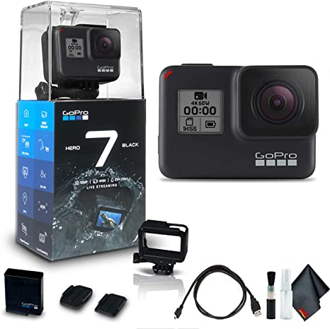 GoPro HERO7 Black - Waterproof Action Camera with Touch Screen (HERO7 Black), 4K HD Video, 12MP Photos, Live Streaming and Stabilization - Base Kit