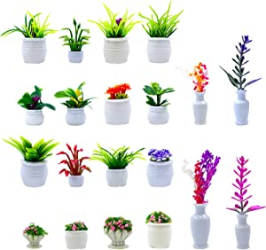 20 Pieces Dollhouse Potted Plants Miniature Artificial Tiny Bonsai Mini Model Flower Pot Fake Figure for 1:12 Doll House Garden Decorations Lovely Home Grass Greenery Ornament Play DIY (Flower Pot)