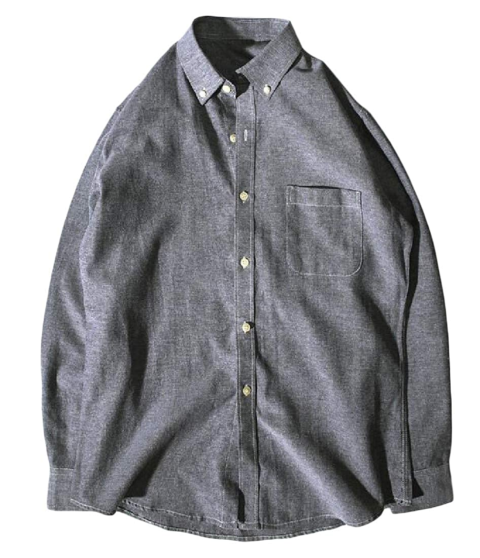 Cromoncent Mens Button-Down Slim Fit Casual Oxford Long-Sleeve Shirt
