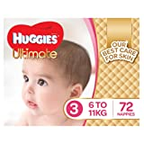 Huggies Ultimate Nappies, Girls, Size 3 Crawler (6-11kg), 72 Count