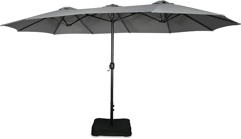 Iwicker Patio 15 Ft Double-Sided Umbrella Outdoor Market Umbrella with Crank, Umbrella Base Included (Grey)