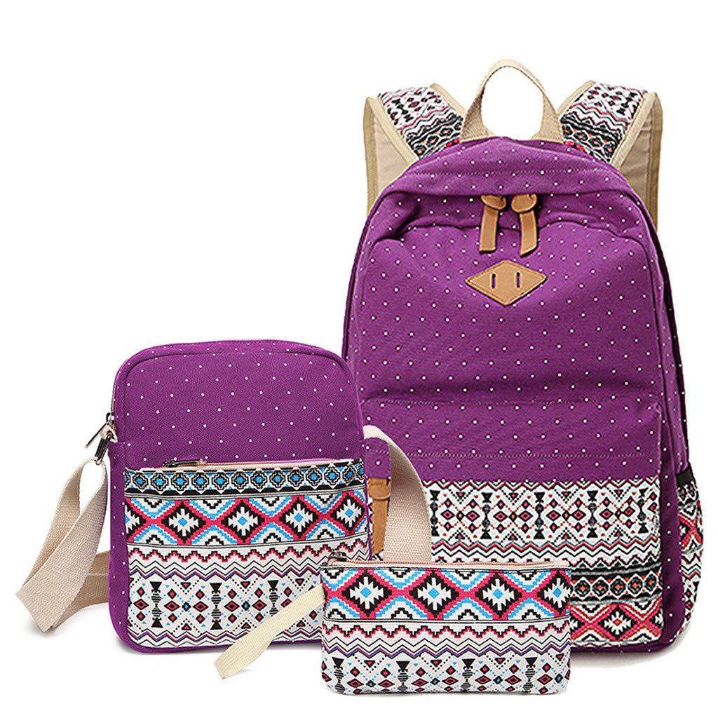 Qvwanle 3 Piece Teen Girls Women National Style Casual Canvas Laptop Shoulder Bag School Backpack Rucksack Bookbag Set (Purple)