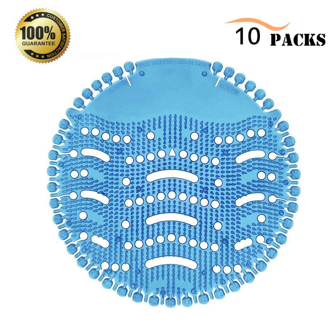 Urinal Screen Deodorizer, 10 Pack Antimicrobial Anti-Splash Deodorizer with Max Coverage in Most Top Urinal Brands/30 Days Ocean Mist Fragrance/up to 5000 Flushes Odor Neutralizer for Bathroom/Office