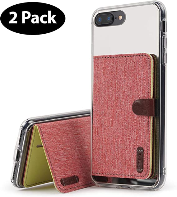 Red Fashion ID Card Holder Credit Card Case with 2 Card Slots