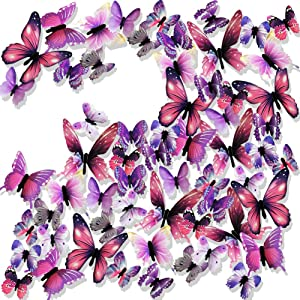 Ewong 3D Butterfly Wall Stickers Arts Decor Crafts for Kids Girls, Home Decorations for Living Room Baby Bedroom Bathroom Nursery Classroom Office Decals 60PCS (60 Purple)