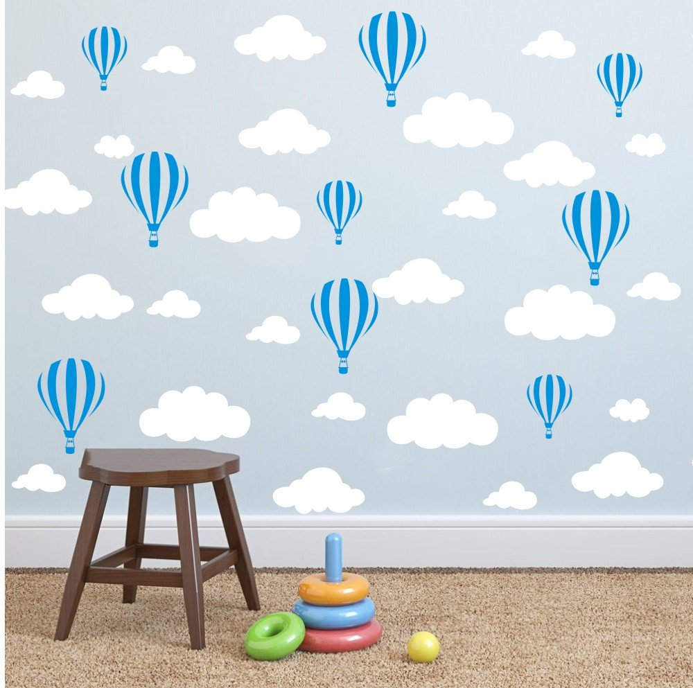 YOYOYU ART HOME DECOR Mix Size Big Clouds and Airballon Wall Sticker Nursery Room Kids Room Wall Decor Sticker Art Vinyl Wall Decal (White clouds Blue Airballon)