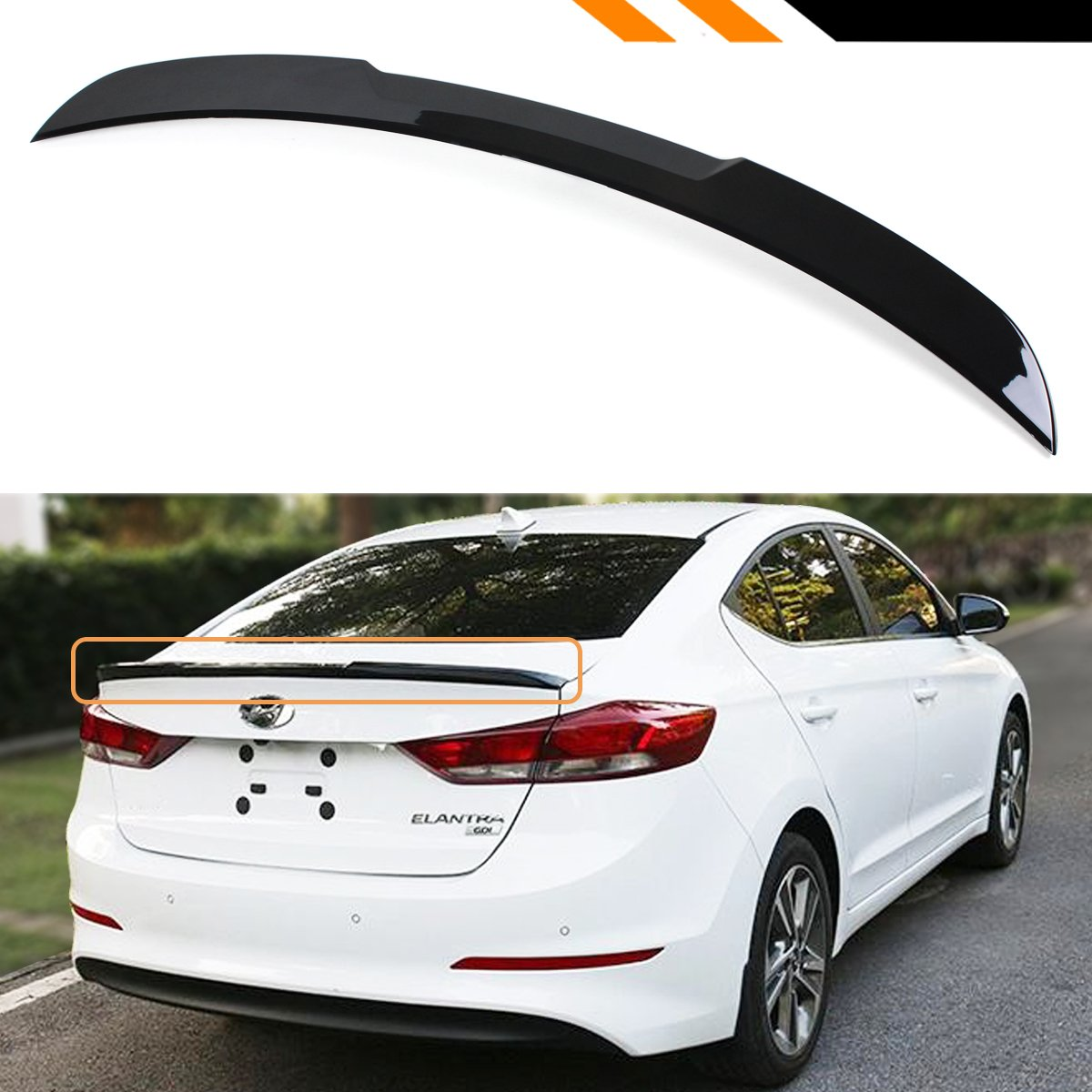 Cuztom Tuning For 2017 2018 Hyundai Elantra Sedan Painted Glossy Black H Style Trunk Lid Spoiler Wing