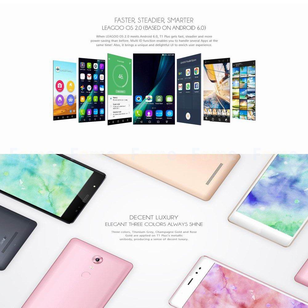 Smartphone Libre, Leagoo T1 Plus MT6737 Quad Core Smartphone 3GB RAM 16GB ROM 13.0MP Reconocimiento de la huella digital de la cámara dual Carga rápida ...