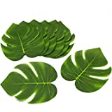 Tytroy Coated Fabric Artificial Tropical Green Plant Leaves Hawaiian Luau Party Decoration (Set of 24 leaves)