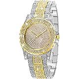 ManChDa Reloj de lujo para mujer con movimiento de cuarzo y diamantes de imitación de cristal para mujer, de acero inoxidable