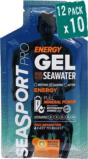 Pack 12 Seasport Pro Natural Gel energetico con agua de mar, sabor naranja, 10