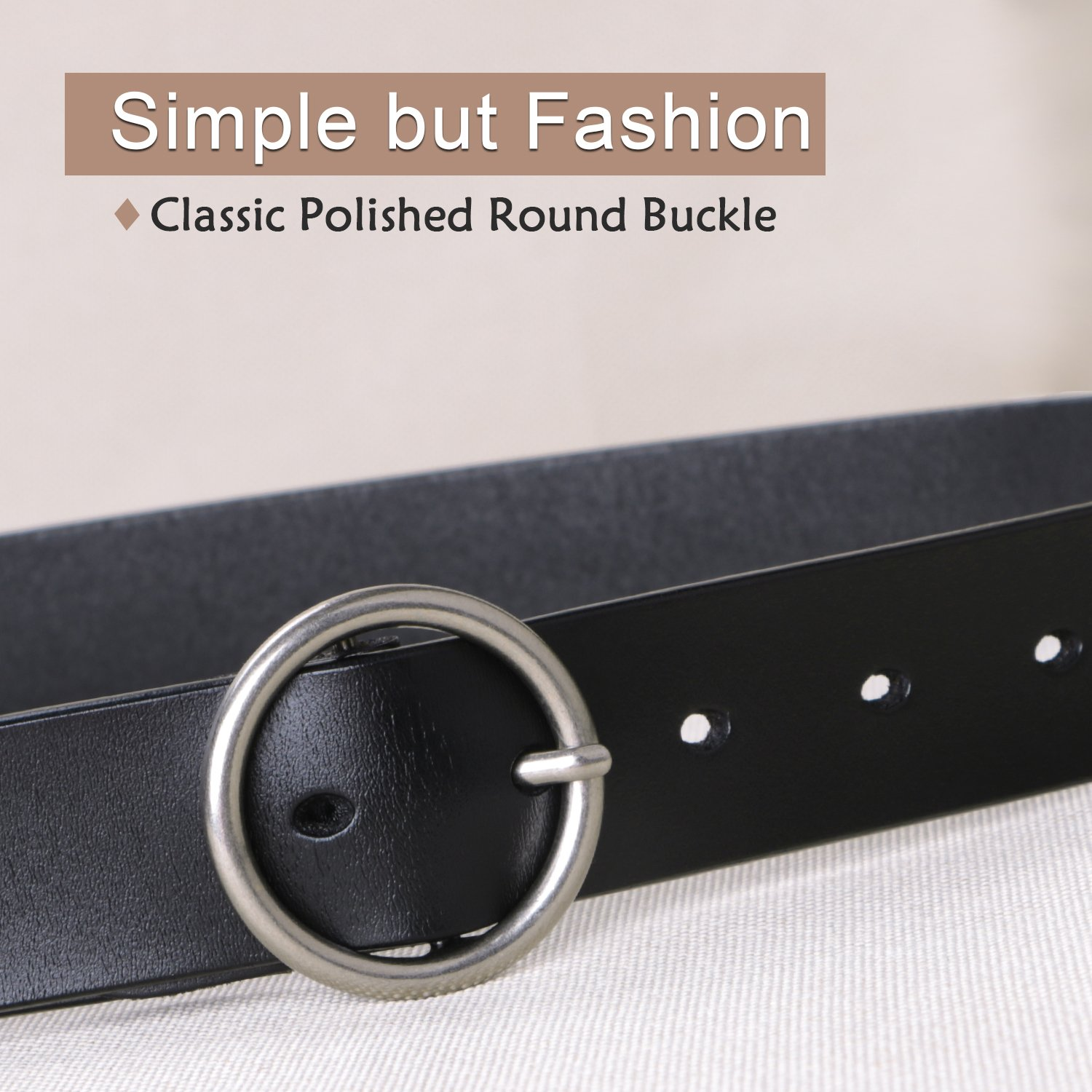 Women Black Leather Belt for Jeans,Fashion Belts for Women With Round Buckle By SUOSDEY by SUOSDEY (Image #4)