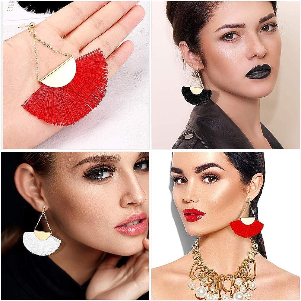 3 Pairs Tassel Hoop Earrings Bohemia Fan Shape Ear Drops Women Dangle Ethnic Earrings Red White and Black
