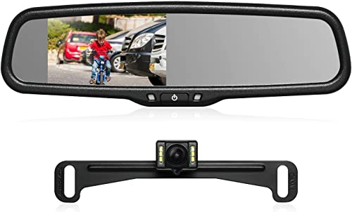 AUTO-VOX T2 Backup Camera Kit,OEM Rear View Mirror Monitor with IP68 Waterproof Rear View Camera,Super Night Vision for Parking Reversing