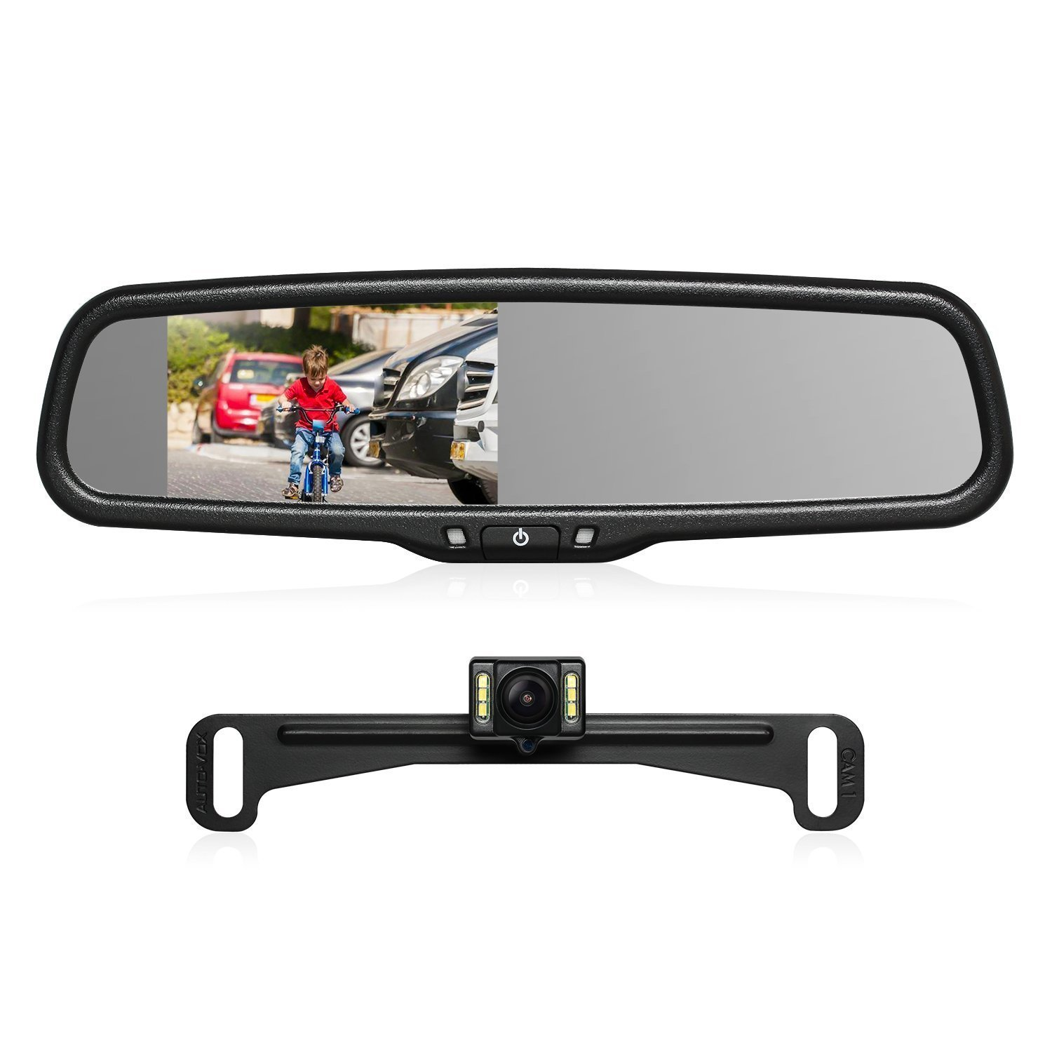 "AUTO-VOX T2 Backup Camera Kit 4.3"" LCD OEM Car Rearview Mirror Monitor Parking and Reverse Assist with IP 68 Waterproof LED Night Vision Rear View License Plate Back up Car Camera for Cars Trucks RVs"