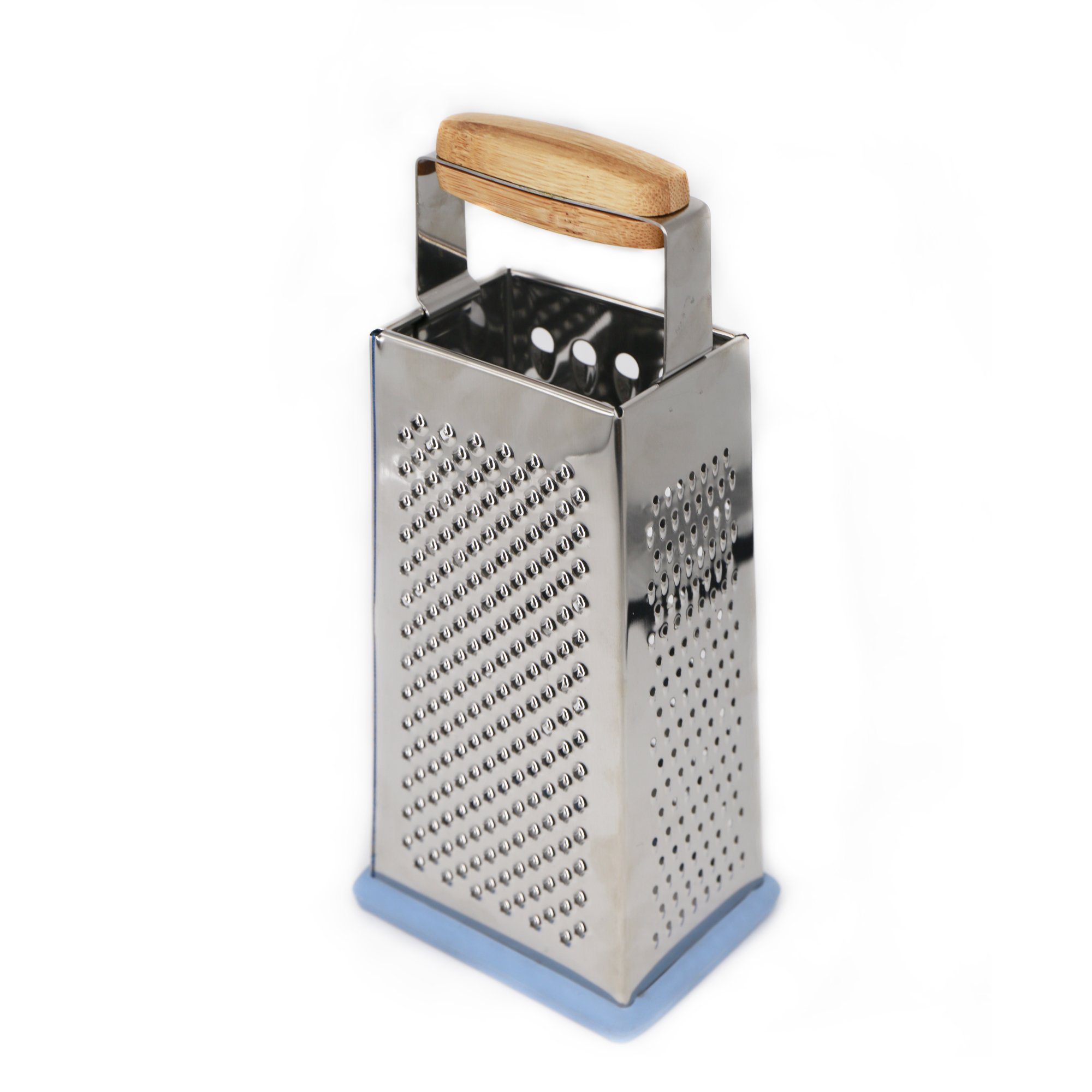 Tessïe & Jessïe Box Grater –4-Sided Stainless Steel Professional Grater with Bamboo Handle for Cheese, Vegetables, Ginger … - Sky-Blue/Plum-Red (Sky-Blue)