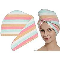 (Multicolor) - HOPESHINE Hair Towel Twist Ultra Absorbent Head Towel Hair Turban Wrap Shower Cap for Women (Multicolor)