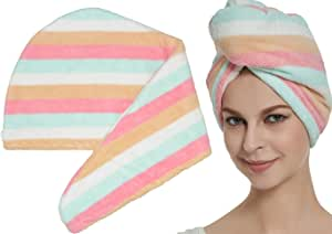 HOPESHINE Hair Drying Towel Twist Microfiber Towels for Hair Turban Wrap Fast Drying Super Soft and Absorbent Great Women and Girls (Rainbow)