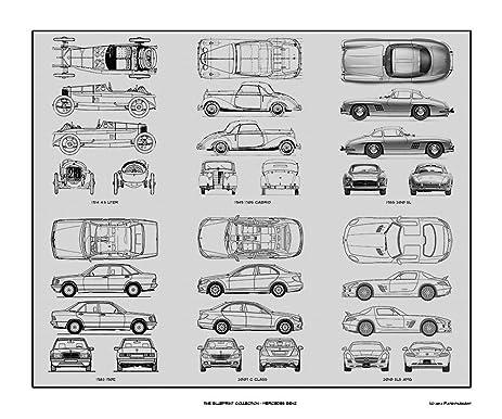Amazon mercedes benz 2 blueprint collection print car art mercedes benz 2 blueprint collection print car art gift 20x24 malvernweather Choice Image