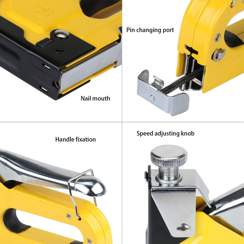 HSEAMALL Agrafeuse 3 en 1 Pistolet /à ongle haute performance avec agrafeuse 3 voies 600 agrafes pour rembourrage d/écoration menuiserie meubles mat/ériel de fixation
