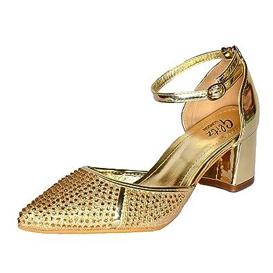 b6d0b092b5532 Ladies Diamante Pointed Block Heel Shoes Low Heel Ankle Strap Sandal Pointy  Size UK 3